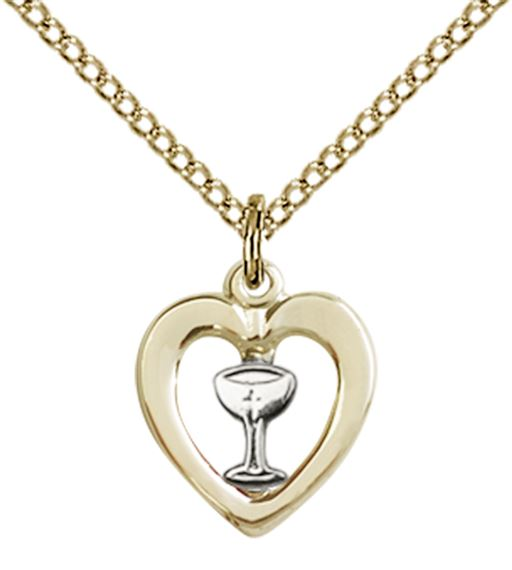 SS-GF HEART - CHALICE PENDANT WITH CHAIN -