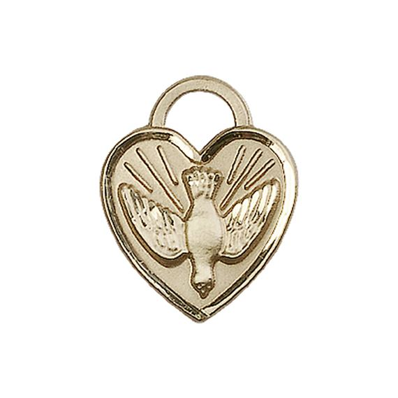 "14KT GOLD CONFIRMATION HEART MEDAL - 3/4"" x 5/8"""