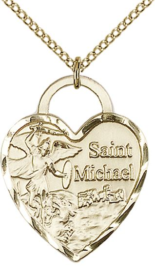 "14KT GOLD FILLED ST MICHAEL THE ARCHANGEL PENDANT WITH CHAIN - 1"" x 3/4"""