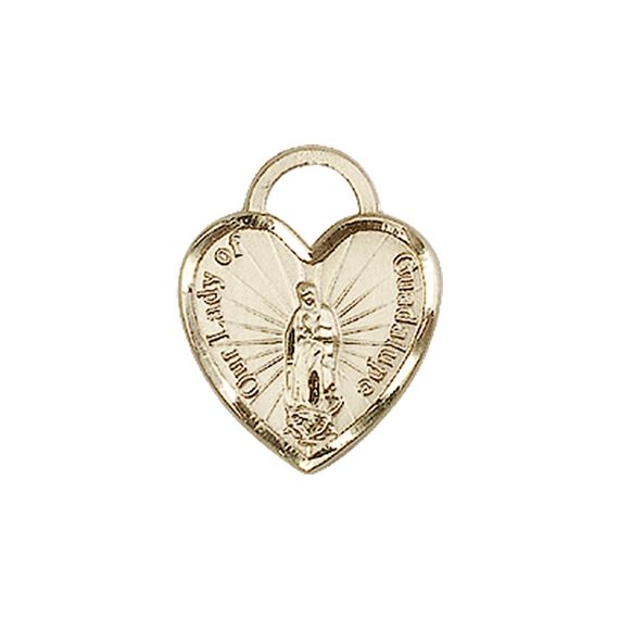 14KT GOLD OUR LADY OF GUADALUPE HEART MEDAL