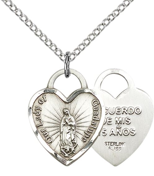 STERLING SILVER OUR LADY OF GUADALUPE HEART PENDANT WITH CHAIN