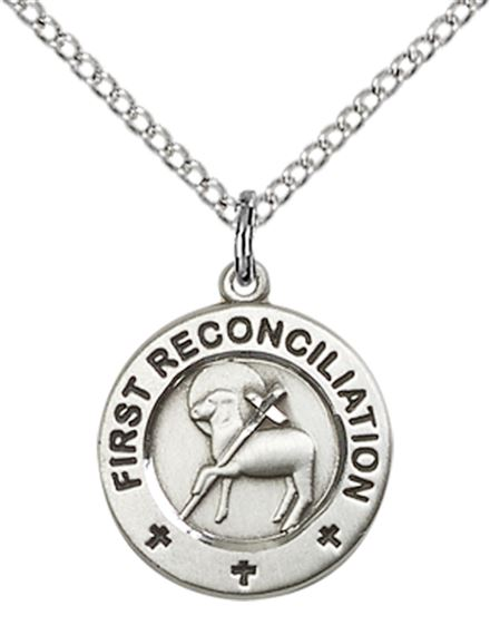 "STERLING SILVER FIRST RECONCILIATION - PENANCE PENDANT WITH CHAIN - 5/8"" x 1/2"""