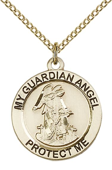 "14KT GOLD FILLED GUARDIAN ANGEL PENDANT WITH CHAIN - 3/4"" x 3/4"""