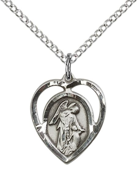 "STERLING SILVER GUARDIAN ANGEL PENDANT WITH CHAIN - 5/8"" x 1/2"""