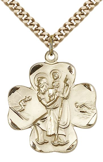 "14KT GOLD FILLED ST CHRISTOPHER PENDANT WITH CHAIN - 1"" x 7/8"""