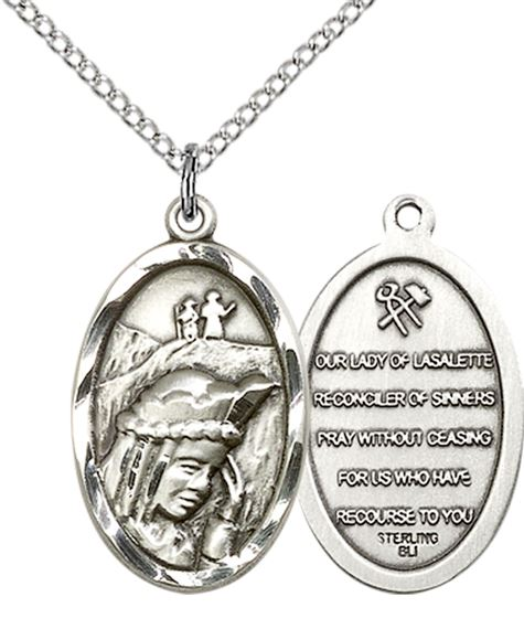 "STERLING SILVER OUR LADY OF LA SALETTE PENDANT WITH CHAIN - 7/8"" x 1/2"""