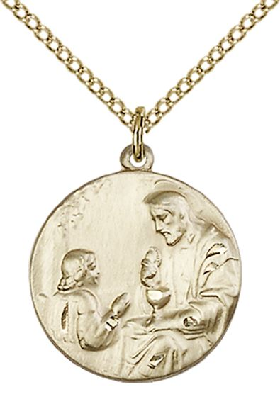 "14KT GOLD FILLED CHRIST & CHILD PENDANT WITH CHAIN - 3/4"" x 5/8"""