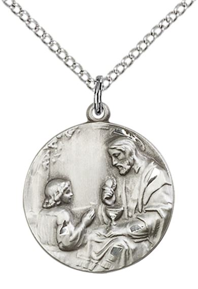 "STERLING SILVER CHRIST & CHILD PENDANT WITH CHAIN - 3/4"" x 5/8"""