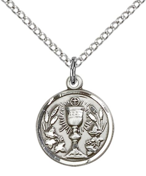 "STERLING SILVER COMMUNION CHALICE PENDANT WITH CHAIN - 1/2"" x 1/2"""