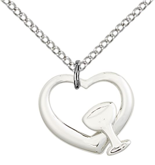 "STERLING SILVER HEART - CHALICE PENDANT WITH CHAIN - 1/2"" x 1/2"""