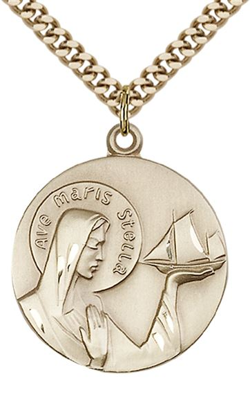 "14KT GOLD FILLED OUR LADY STAR OF THE SEA PENDANT WITH CHAIN - 1"" x 7/8"""