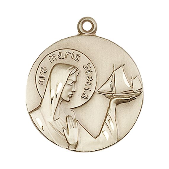 "14KT GOLD OUR LADY STAR OF THE SEA MEDAL - 1"" x 7/8"""