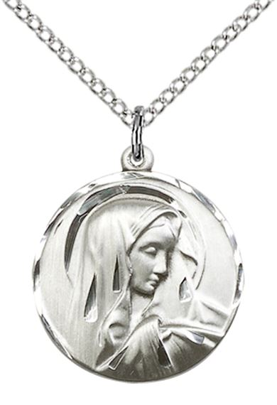 "STERLING SILVER SORROWFUL MOTHER PENDANT WITH CHAIN - 3/4"" x 5/8"""