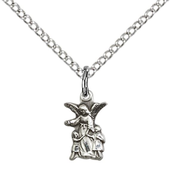 "STERLING SILVER LITTLEST ANGEL PENDANT WITH CHAIN - 3/8"" x 1/4"""