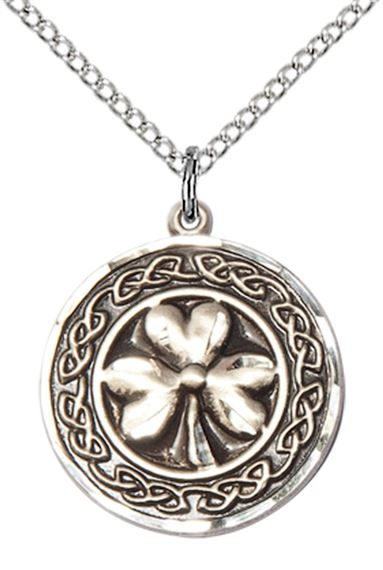 STERLING SILVER SHAMROCK W-CELTIC BORDER PENDANT WITH CHAIN