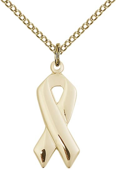 14KT GOLD FILLED CANCER AWARENESS PENDANT WITH CHAIN
