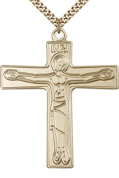 "14KT GOLD FILLED CURSILLIO CROSS PENDANT WITH CHAIN - 2"" x 1 5/8"""