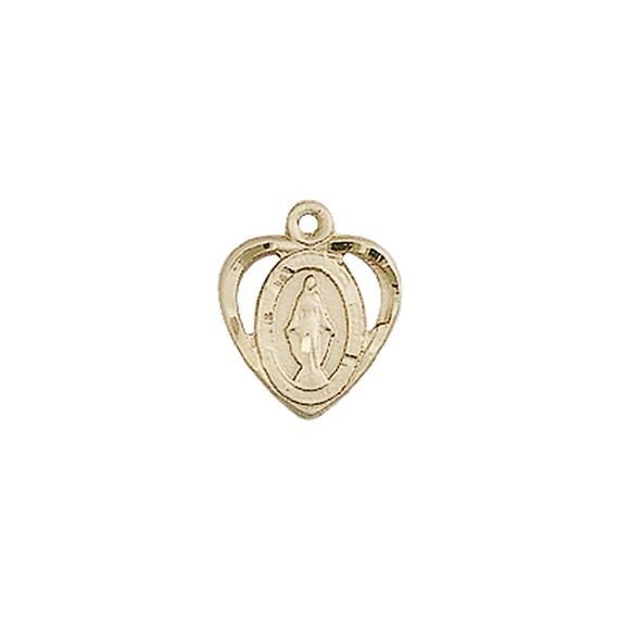 "14KT GOLD MIRACULOUS MEDAL - 3/8"" x 3/8"""