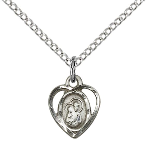 "STERLING SILVER OUR LADY OF PERPETUAL HEALTH PENDANT WITH CHAIN - 3/8"" x 1/4"""