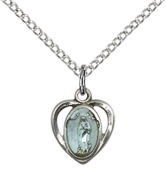 "STERLING SILVER OUR LADY OF GUADALUPE PENDANT WITH CHAIN - 3/8"" x 3/8"""