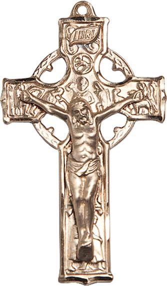 "14KT GOLD CELTIC CRUCIFIX MEDAL - 1 1/2"" x 7/8"""