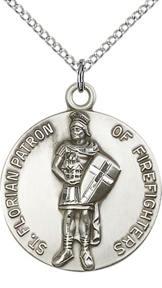 "STERLING SILVER ST FLORIAN PENDANT WITH CHAIN - 1"" x 7/8"""