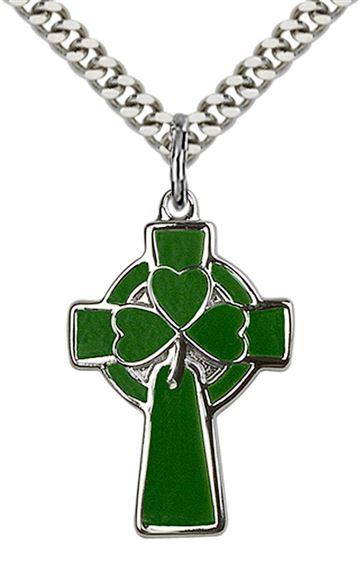 "STERLING SILVER CELTIC CROSS PENDANT WITH CHAIN - 1"" x 5/8"""