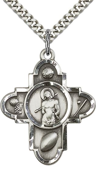 "STERLING SILVER SPORTS 5-WAY ST SEBASTIAN PENDANT WITH CHAIN - 1 1/4"" x 1"""