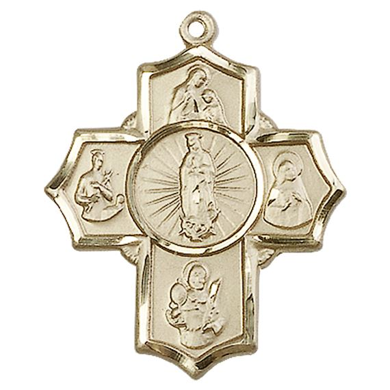 "14KT GOLD 5-WAY MOTHERHOOD MEDAL - 1 1/4"" x 1"""