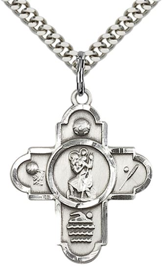 "STERLING SILVER 5-WAY ST CHRISTOPHER SPORTS PENDANT WITH CHAIN - 1 1/8"" x 7/8"""