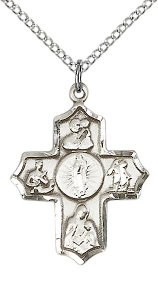 STERLING SILVER 5-WAY OUR LADY OF GUADALUPE PENDANT WITH CHAIN