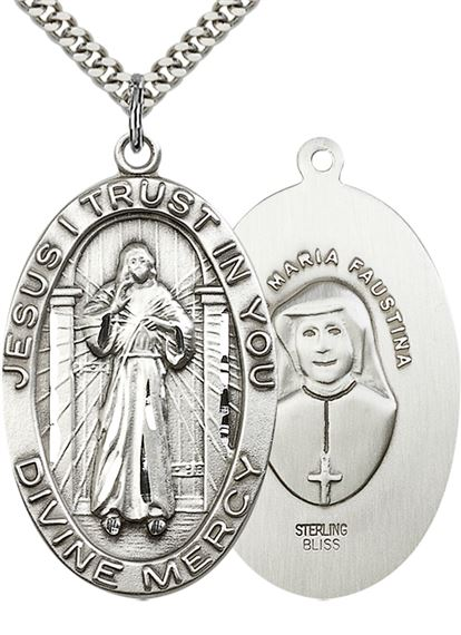 "STERLING SILVER DIVINE MERCY PENDANT WITH CHAIN - 1 5/8"" x 1"""
