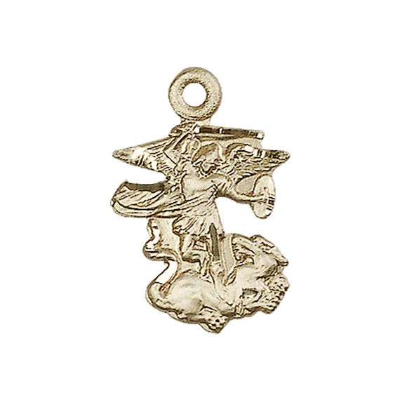 "14KT GOLD ST MICHAEL THE ARCHANGEL MEDAL - 7/8"" x 1/2"""