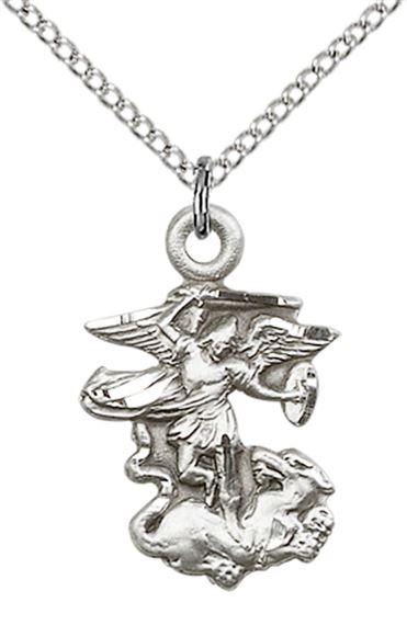 "STERLING SILVER ST MICHAEL THE ARCHANGEL PENDANT WITH CHAIN - 7/8"" x 1/2"""