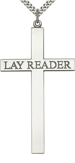 STERLING SILVER LAY READER CROSS PENDANT WITH CHAIN