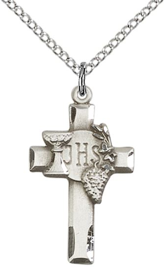 STERLING SILVER CROSS W-IHS GRAPES PENDANT WITH CHAIN