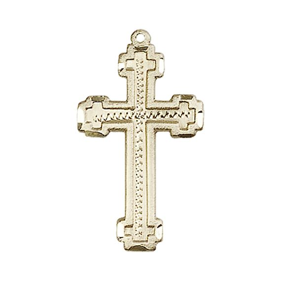 "14KT GOLD CROSS MEDAL - 1"" x 1/2"""