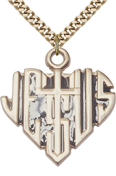 "14KT GOLD FILLED HEART OF JESUS W-CROSS PENDANT WITH CHAIN - 1 1/8"" x 1 1/8"""