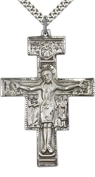 "STERLING SILVER SAN DAMIANO CRUCIFIX PENDANT WITH CHAIN - 2"" x 1 3/8"""