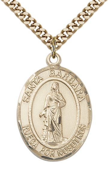 "GOLD FILLED SANTA BARBARA PENDANT ON A CHAIN - 1"" x 3/4"""