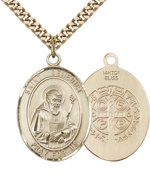 "14KT GOLD FILLED ST BENEDICT PENDANT WITH CHAIN - 1"" x 3/4"""