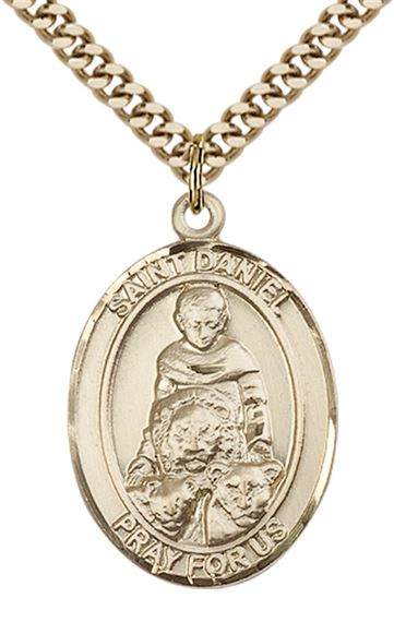 "14KT GOLD FILLED ST DANIEL PENDANT WITH CHAIN - 1"" x 3/4"""
