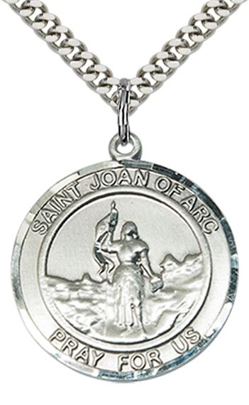 "STERLING SILVER ST JOAN OF ARC PENDANT WITH CHAIN - 1"" x 7/8"""
