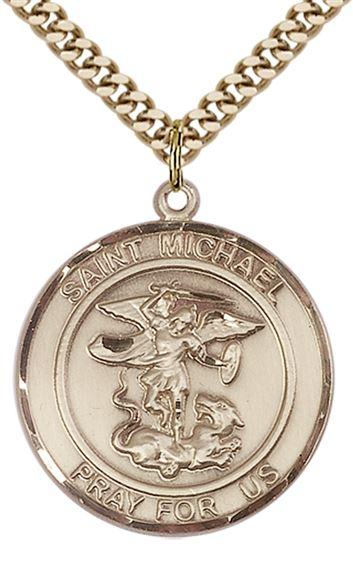 "14KT GOLD FILLED ST MICHAEL THE ARCHANGEL PENDANT WITH CHAIN - 1"" x 7/8"""