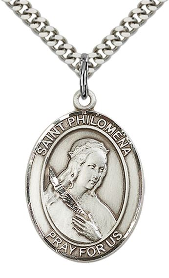 "STERLING SILVER ST PHILOMENA PENDANT WITH CHAIN - 1"" x 3/4"""