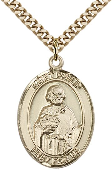 "14KT GOLD FILLED ST PHILIP THE APOSTLE PENDANT WITH CHAIN - 1"" x 3/4"""