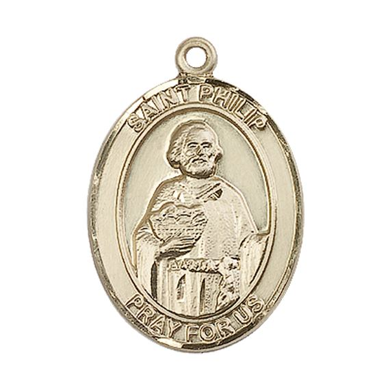 "14KT GOLD ST PHILIP THE APOSTLE MEDAL - 1"" x 3/4"""