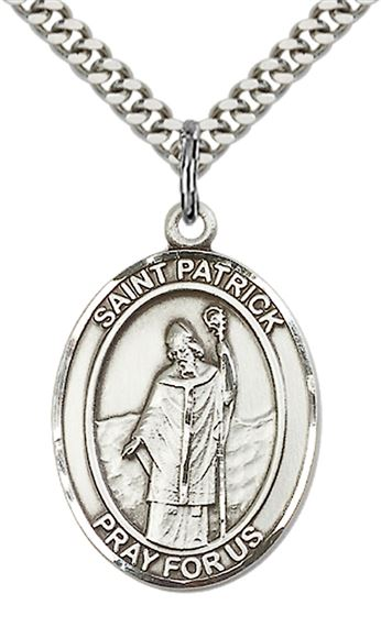 "STERLING SILVER ST PATRICK PENDANT WITH CHAIN - 1"" x 3/4"""
