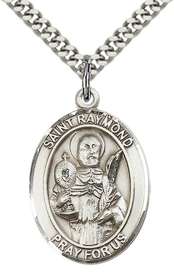 "STERLING SILVER ST RAYMOND NONNATUS PENDANT WITH CHAIN - 1"" x 3/4"""