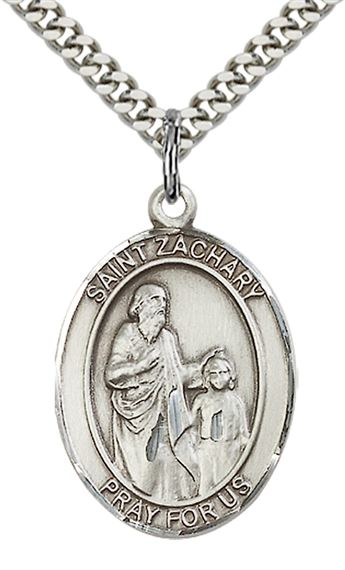 "STERLING SILVER ST ZACHARY PENDANT WITH CHAIN - 1"" x 3/4"""
